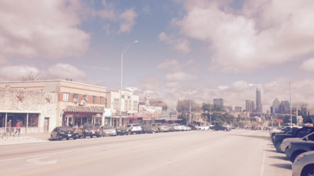 South Congress looking Downtown on a sunny Sunday morning